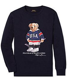 Polo Ralph Lauren Big Boys Hockey Bear Long-Sleeve Cotton T-Shirt