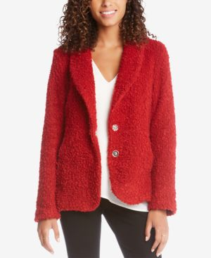 Boucle Shawl-Lapel Jacket in Red