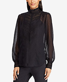 Lauren Ralph Lauren Sheer Lace-Trim Top