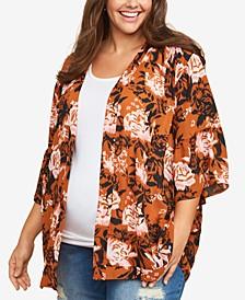 Plus Size Printed Kimono Blouse