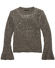 GUESS Big Girls Pearl-Trim Metallic Sweater