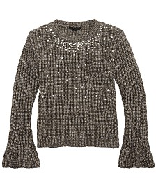 GUESS Big Girls (Size 7) Pearl-Trim Metallic Sweater