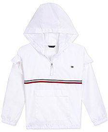 Tommy Hilfiger Big Girls Ruffle-Trim Hooded Windbreaker