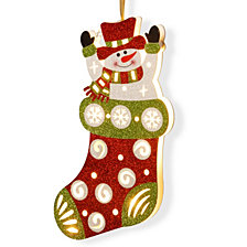 "National Tree PreLit 17"" Wooden Stocking Snowman"