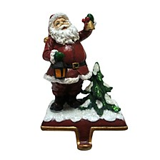"6.5"" Santa holding a Bell Stocking Holder"