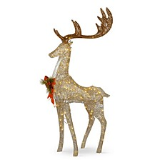 """55"""" Pre-lit Crystal Champagne Standing Buck"""