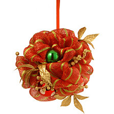 "National Tree Company 12"" Decorative Collection Red Ribbon with Gold Stripes Kissing Ball"