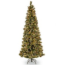 National Tree 7' Glistening Pine Pencil Slim Hinged Tree with Silver Glittered Cones, 300 Clear Lights PowerConnect