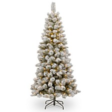 National Tree 7 .5' Snowy Bristle Pine Slim Hinged Tree with 350 Clear Lights