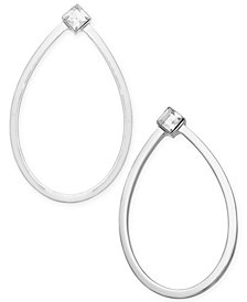 "Alfani Extra Large Silver-Tone Crystal Oval Hoop Earrings, 2.4"", Created for Macy's"