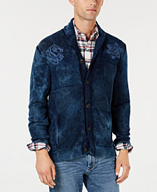 Lucky Brand Men's Shawl Collar Embroidered Cardigan