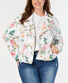 I.N.C. Plus Size Floral-Print Sequin Moto Jacket, Created for Macy's