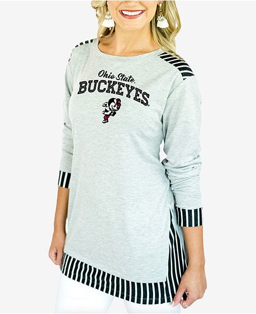 Gameday Couture Women's Ohio State Buckeyes Striped Panel Long Sleeve T-Shirt