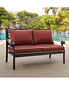 Portofino Cast Aluminum Love Seat With Sangria Cushions