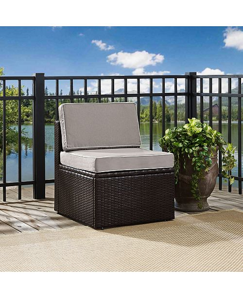 Crosley Palm Harbor Outdoor Wicker Corner Chair With Cushions