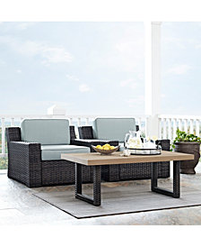 Beaufort 3 Piece Outdoor Wicker Seating Set With Mist Cushion - 2 Outdoor Wicker Chairs, Coffee Table