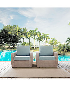 St Augustine 2 Piece Outdoor Wicker Seating Set With Cushion - 2 Outdoor Wicker Chairs
