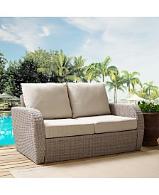 St Augustine Outdoor Wicker Loveseat With Universal Cushion
