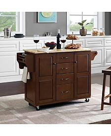 Eleanor Natural Wood Top Kitchen Cart