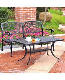 Sedona 2 Piece Cast Aluminum Outdoor Conversation Seating Set - Loveseat And Cocktail Table