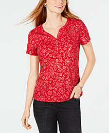 Karen Scott Foil-Print Split-Neck T-Shirt, Created for Macy's