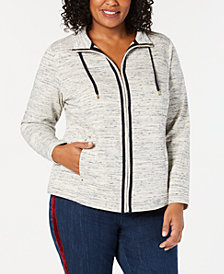 Charter Club Plus Size Space-Dyed Jacket, Created for Macy's