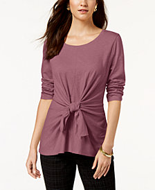 Style & Co Tie-Front 3/4-Sleeve Top, Created for Macy's