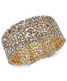 I.N.C. Gold-Tone Scattered Crystal Stretch Bracelet, Created for Macy's