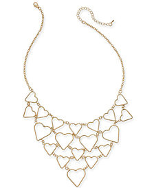"Thalia Sodi Gold-Tone Twist Open Heart Statement Necklace, 18"" + 2"" extender, Created for Macy's"