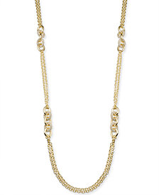 "Charter Club Gold-Tone Pavé Link Long Necklace, 42"" + 2"" extender, Created for Macy's"