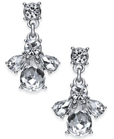 """Charter Club Small Silver-Tone Crystal Cluster Drop Earrings, 1"""", Created for Macy's"""