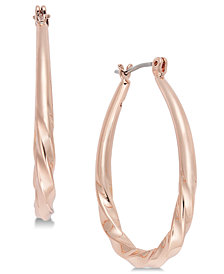 "Charter Club Large Rose Gold-Tone Twist Hoop, 1.5"", Created for Macy's"