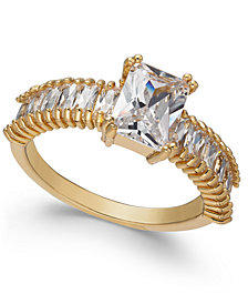 Charter Club Gold-Tone Crystal Baguette Band Ring, Created for Macy's