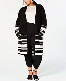 Style & Co Plus Size Half-Striped Long Cardigan Sweater, Created for Macy's
