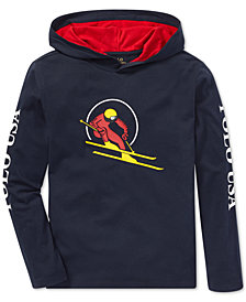 Polo Ralph Lauren Big Boys Downhill Skier Graphic Cotton Hoodie
