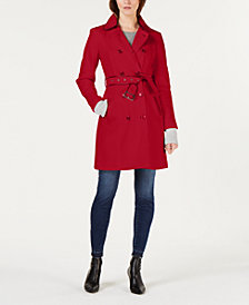 I.N.C. Faux-Leather Trim Military Ponte-Knit Coat, Created for Macy's