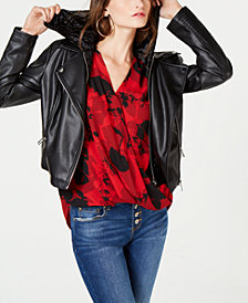 I.N.C. Faux-Leather Velvet-Hoodie Moto Jacket, Created for Macy's