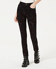 American Rag Juniors' Velvet Floral-Burnout Jeans, Created for Macy's