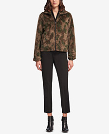 DKNY Faux-Fur Camo-Print Jacket, Created for Macy's