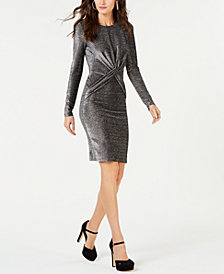 MICHAEL Michael Kors Knotted Metallic Dress, In Regular and Petite Sizes