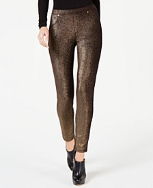 Metallic Foil Pull-On Leggings, Regular & Petite