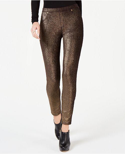 Michael Kors Metallic Foil Pull-On Leggings, Regular & Petite