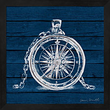 Compass on Blue Wood by Lanie Loreth Framed Art
