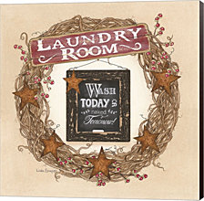 Laundry Room Wreath By Linda Spivey Canvas Art