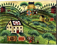Mama'S Country Quilt Houses On Harvest Hills By Cheryl Bartley Canvas Art