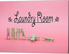Laundry Room Sign Clothespins Pink Background by Color Me Happy Canvas Art