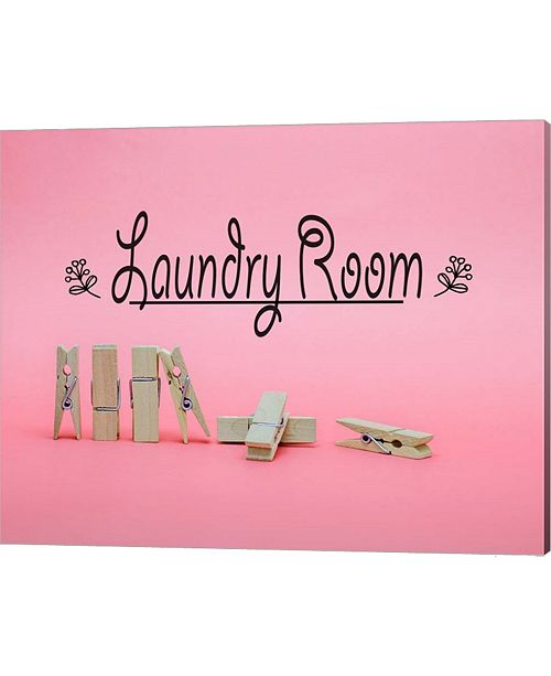 Metaverse Laundry Room Sign Clothespins Pink Background By Color Me Happy Canvas Art