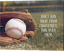 Don't Run Away From Challenges - Baseball by Sports Mania Canvas Art