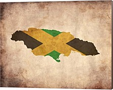 Map With Flag Overlay Jamaica By Color Me Happy Canvas Art