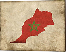 Map with Flag Overlay Morocco by Take Me Away Canvas Art